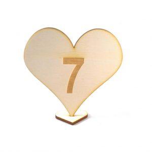 Tischnummer für den Hochzeitstisch - Holzherz